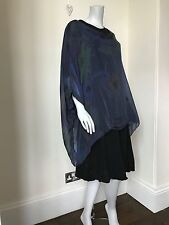 LAGENLOOK LMT Stunning Blue Pure Silk Floral Top - UK 10 12 14 16 18 20 NEW