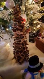 Christmas tree wooden sticks twigs 50cm high on log slice