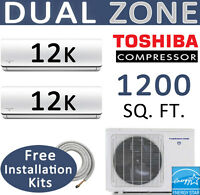 Dual Zone Ductless Mini Split Air Conditioner Heat Pump 2 x 12000 BTU: 25ft kits
