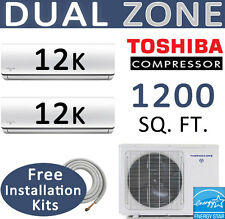 21 SEER Dual Zone Ductless Mini Split Air Conditioner - 2 x 12000 BTU: 15ft kits