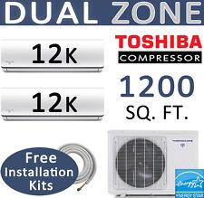 21 SEER Dual Zone Ductless Mini Split Air Conditioner - 2 x 12000 BTU: 25ft kits