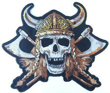 "Viking Warrior Axe Skull Biker Motorcycle Rider Jumbo XL Back Patch 9.6"" x 8"""