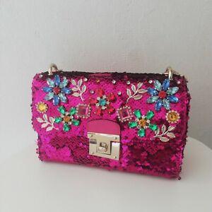 Wedding Pink Handbag/Clutch Aldo Flowers Rhinestones, Sequin Bag