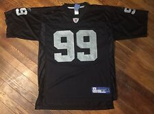 Warren Sapp Oakland Raiders Reebok Men's Medium Black Silver NFL Football Jersey