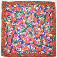 Vibrant EMANUEL UNGARO Designer FLORAL Pink Orange Blue Hand Rolled Silk SCARF