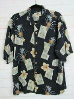 Jamaica Jaxx Mens Black Floral Hawaiian Short Sleeve Button Up Shirt Size L