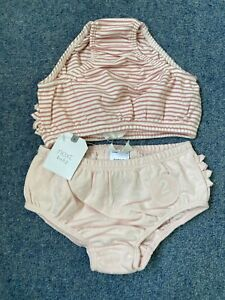NEXT Baby Girl 2 Pack Cotton Pink & White Frill Knickers 3-6 6-12 Months NEW