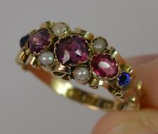 1870 Victorian 12ct Gold Garnet Pearl & Blue Gem Cluster Ring T0016