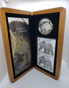Canada 2004 $8 Silver Proof The Great Grizzly 1 oz .9999 Coin & Stamp Set