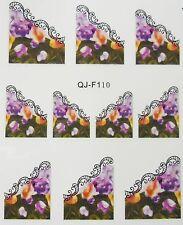 Accessoire ongles : nail art - Stickers décalcomanie,  motif pensées et dentelle