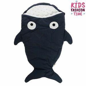 BABY BITES Baby Sleeping Bag Shark Shape Padded Logo Detail Zipped