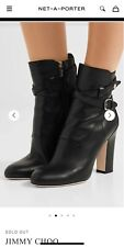 Jimmy Choo Mitchel boots. Pre owned, black leather, gold hardware. Size 36 US 6