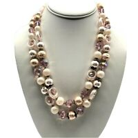 Vtg Signed VENDOME Pink Crystal Faux Pearl Rhinestone Necklace Aurora Borealis