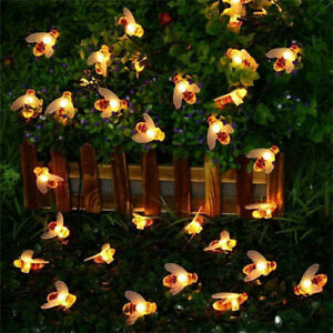 Battery Operated Honey Bee Fairy Outdoor String Lights For Patio Garden Decors