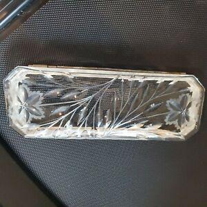 "Antique Deep Cut Crystal Silver Casket Large Glove Jewelry Dresser Box 10.5"" x 4"