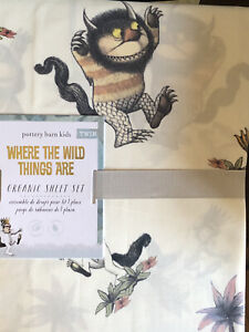 POTTERY BARN KIDS Where the WILD Things Are Organic TWIN 3 Piece Sheet Set NEW