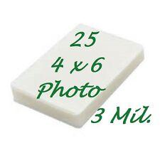 4 x 6 Laminating Laminator Pouches Sheets Photo 3 Mil 25-pk 4-1/4 x 6-1/4