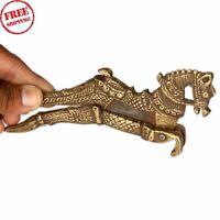 Old Brass Engraved Handcrafted Horse Figurine Betel Nut Cutter Sarota 394