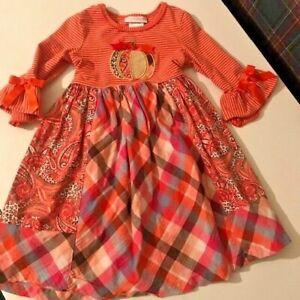 Bonnie Jean Pumpkin Dress Girls size 5 EUC