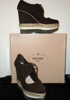 NIB PRADA Dark Brown Calzature Donna Canapa Rope + Mic  EUR 41/ US 10