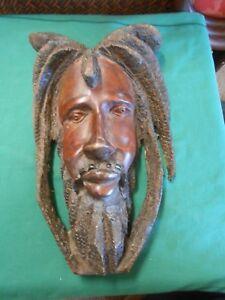 RASTAFARIAN Wood Carving ART MASK Jamacia/Caribbean Handmade #1.FREE Postage USA