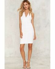 Nasty Gal Short Of Nothing Bodycon Dress small  white olivaceous new with tags