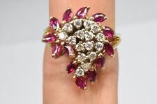 Women's Vintage 1.92 ct Diamond & Ruby 14k Solid Yellow Gold Cluster Ring Italy