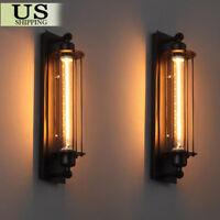 2 PCS Vintage Industrial Metal Wall Lamp Sconce Light Edison Porch Flute Fixture