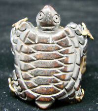 Retired Jan Michaels San Francisco Turtle Ring Adjustable Antique Gold Finish