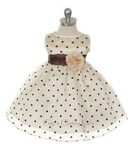 New Baby Girls White Black Polka Dot Dress Pageant Wedding Christmas Party 247