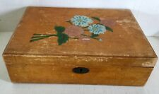 Vintage antique wooden box with handpainted  floral design on top