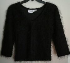 Vintage Jr-s.com Trademark For The Cyber Generation Black Fuzzy Sweater Womens M