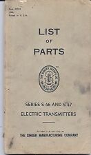 1948 Singer Sewing Machine Transmitter Motor List of Parts Book