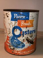 VINTAGE 1 GAL FLAVOR FRESH OYSTERS TIN CAN FISHERMAN'S SEAFOOD, GRASONVILLE, MD