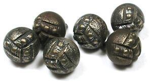 "Set of 6 Antique Victorian Metal Ball Buttons 3/8"" Paris Back"