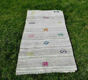 Antique Furniture Turkish Cappadocia Carpet Vintage Kilim White Runner Rug 3x5ft