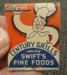 c1934 Century Grills matchbook Swift Bridge Theatre Chicago World's Fair