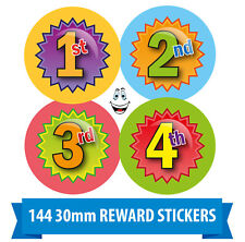 Sports Day 1st, 2nd, 3rd Award Stickers (144 30mm) School Kids Well Done labels