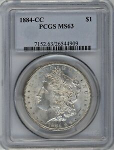 1884-CC PCGS MS-63 Morgan Silver Dollar ~ BLAST WHITE THROUGHOUT ~ 1c START
