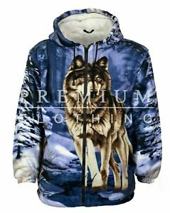 Mens Womens EXTRA Thick Thermal LINED Hooded Fur Sherpa Fleece Printed Jackets