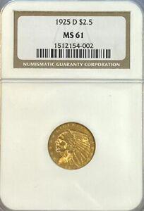 NGC MS61 1925-D $2.5 Indian Head Gold Coin.! BU.!