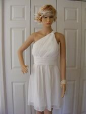 2e4648b90586 DONNA MORGAN Rhea Bridesmaid Party One Shoulder White Chiffon Dress Size 8
