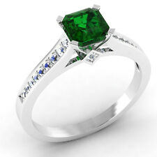 0.66 Ct Certified Emerald Engagement Ring 14K White Gold Diamond Rings Size N #0