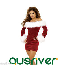 Lady Christmas Costume One Piece Dress Boat Neck Santa Claus Cosplay PhillackYZL