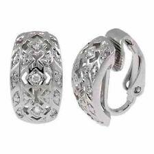 Cubic Zirconia Huggie Sterling Silver Fine Earrings