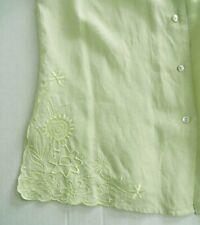 RICHARD MALCOLM Blouse Shirt Irish Linen Neon Lime Sage Green Embroidery Size S