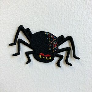 Cute Spider Black with Red Eyes Iron Sew on Embroidered Patch
