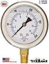 New 2 12 Hydraulic 0 200 Psi Liquid Filled Pressure Test Gauge Lower Mount