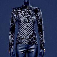 Balmain X H&M Womens Velvet Silk Blouse Turtleneck Top 32 34 36 XXS XS S 6 Black