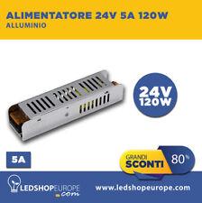 ALIMENTATORE DRIVER SLIM 5A 24V STRISCIA LED TRASFORMATORE STABILIZZ. 220 120W
